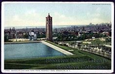 reservoir and water tower, with the arch in Grand Army Plaza in the background. A very empty Eastern Parkway runs along the right side, at the bottom of the hill. The postcard dates from 1907, and shows a very built-up Brooklyn.