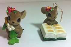 Lot of 2 Vintage Flocked CHRISTMAS MICE ORNAMENTS Made in Japan Big Eyes