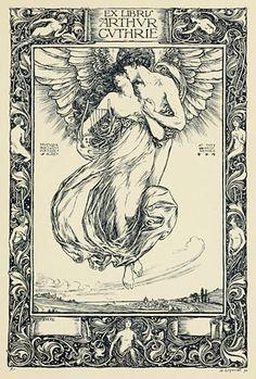 Eros and Psyche ascending, I presume. Bookplate design by H. Ospovat via John Coulthart.