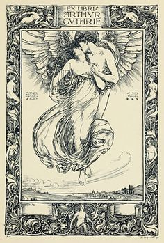 Eros and Psyche ascending, I presume. Bookplate design by H. Ospovat via John Coulthart.