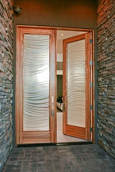 Modern Zebrawood Front Door with Cast Glass Panels by Riverwoods Mill