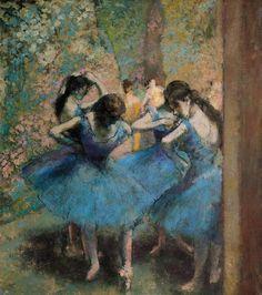 seabois:  Dancers in blue Painting by Edgar Degas