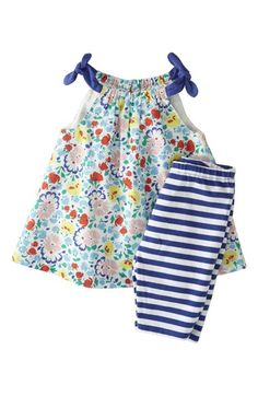 Mini Boden 'Printed Play Set' Cotton Voile Top & Jersey Capri Shorts (Baby Girls) available at #Nordstrom