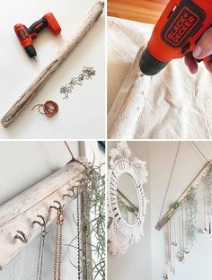 Make this DIY jewelry hanger with driftwood and some cup hooks! Lots of other great jewelry organizing ideas here too! #jewelryorganizer Arts And Crafts Projects, Diy And Crafts, Diy Projects, Diy Jewelry Hanger, Diy Home Improvement, Decorating On A Budget, Jewelry Organization, Cup Hooks, Diy Room Decor