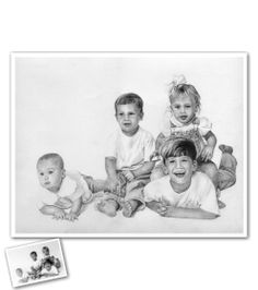 Hand Drawn Pencil Sketch from Photos - An adorable family portrait that was sketched by one of our artists. We're thinking this would be the perfect Mother's Day Gift ; Beautiful Pencil Sketches, Cool Sketches, Pencil Sketch Portrait, Pencil Drawings, Portraits From Photos, Family Portraits, Sketch Paper, Perfect Mother's Day Gift, Hand Drawn