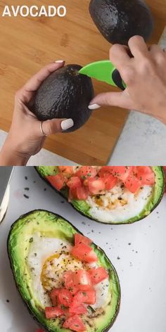 Try this creamy dreamy Baked Avocado Egg for breakfast soon! They are Keto-friendly, easy to make and gluten-free. They are topped with fresh tomatoes and Parmesan cheese. Kickstart your morning with this perfectly delicious low carb breakfast. Avocado Egg Bake, Baked Avocado, Keto Recipes, Cooking Recipes, Healthy Recipes, Healthy Meals, Healthy Food, Easy Healthy Breakfast, Breakfast Recipes