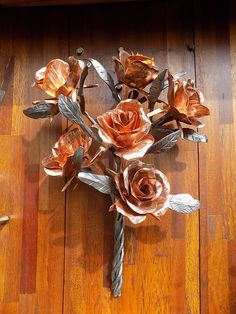 Forged Iron and Copper Roses Blacksmith Sculptures Sheffield