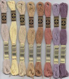 DMC six-stranded embroidery floss - 3000 series. DMC 3011 - Khaki Green - Dark; 3012 - Khaki Green - Medium; 3013 - Khaki Green - Light; 3021 - Brown Gray - Very Dark; 3022 - Brown Gray - Medium; 3023 - Brown Gray - Light; 3024 - Brown Gray - Very Light; 3031 - Mocha Brown - Very Dark; 3032 - Mocha Brown - Medium; 3033 - Mocha Brown - Very Light; 3041 - Antique Violet - Medium; 3042 - Antique Violet - Light; 3045 - Yellow Beige - Dark; 3046 - Yellow Beige - Medium; 3047 - Yellow Beige…