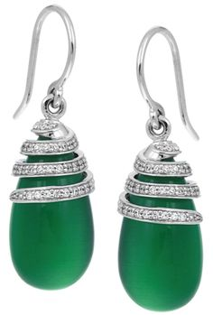 Eden Jade earrings in rhodium-plated silver with a jade-toned cabochon-cut Cat's Eye and lab-created pavé-set stones; $225; Belle Étoile