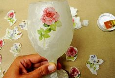 Step 4. How to decoupage on glass with rice paper