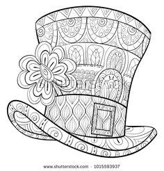 Shaffer stock—Saint Patrick Hat with clover for relaxing.Zen art style illustration.