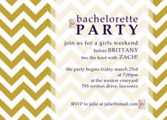 bachelorette party invitation chevron design