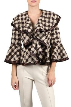 Woman's Fox and Houndstooth Coat at www.cassiesclosetinc.com
