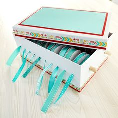 Keeo your trims in order when make this Photo Box Ribbon Organizer