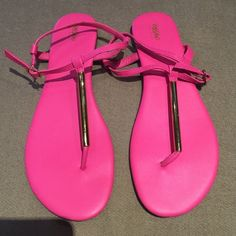 Hot Pink and Gold Thong Sandals This are gently used, worn only a few times.  They are very bright pink with gold hardware. Mossimo Supply Co Shoes Sandals