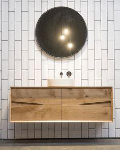 Vertical impression of metro tiles. Timber Furniture, Bathroom Style, Timber Vanity, Bathroom Cabinetry, Blue Bathroom, Round Mirror Bathroom, Bathroom, Bathroom Decor, Bathroom Inspiration
