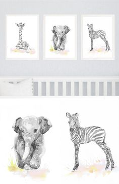 Neutral Nursery Decor Set of 3 prints Baby Animals by ValrArt