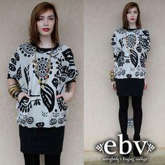 #Vintage #80s #Black & #White #Graphic #Print #Sweater #Dress #Tunic #Jumper S M by #shopEBV http://etsy.me/16jsbcD via @Etsy #etsy #fall shopEBV, $58.00