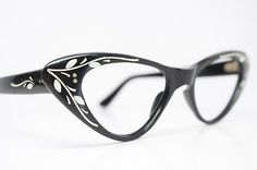 Authentic-Vintage-Black-Floral-Cat-Eye-Glasses-Retro-Cateye-1960s