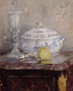 Tureen and Apple, Berthe Morisot. French Impressionist Painter (1841 - 1895)