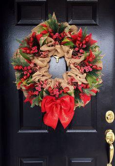Christmas Burlap Wreath Christmas Wreath by GrandEntranceWreaths