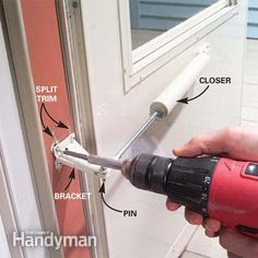 Fix a Storm Door Closer.Strong winds or heavy use can crack the door jamb that holds the storm door closer in place. A jamb reinforcer can repair the cracked jamb, or stop the problem from happening in the first place. Painted Storm Door, Storm Door Closer, Storm Doors, Handyman Projects, Door Jamb, Home Fix, Home Repairs, Closed Doors, Exterior Doors