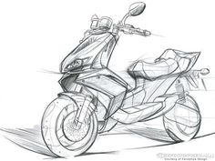 Scooter – Keep up with the times. Scooter Design, Motorbike Design, Bike Sketch, Car Sketch, Car Drawings, Pencil Drawings, Bike Drawing, Industrial Design Sketch, Car Design Sketch