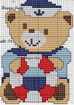 urso marinheiro Embroidery Patterns, Cross Stitch Patterns, Bear Blanket, Nautical Pattern, Cross Stitch For Kids, Crochet Diagram, Yarn Projects, Cross Stitching, Pixel Art