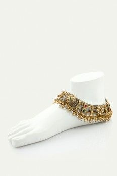 Pair of oxidized anklet with ruby and emerald stone in two tone finish. J16-179