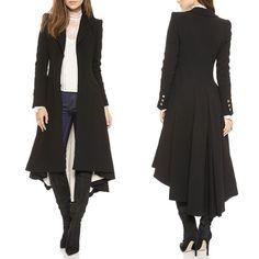Women Fashion Long Sleeve Wool Blend Blazer Evening Party Trench Coat Outwears