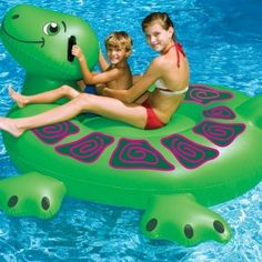 Giant Sea Turtle by Swimline Does your little guppy love turtles and swimming? The Giant Sea Turtle by Swimline is a large and fun Pool Inflatab Inflatable Pool Toys, Inflatable Float, Giant Inflatable, Turtle Swimming, Swimming Pools, Giant Sea Turtle, Pool Lounge Float, Pool Rafts, Thing 1