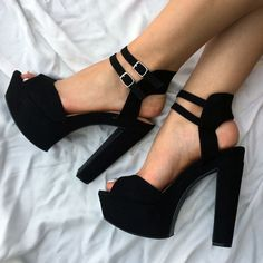 Shoespie Black Rugged Platform Sandals