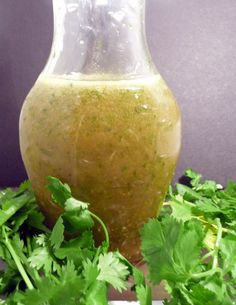 I made Cilantro-Lime Dressing! Over organic dandelion greens, baby kale, arugula, and spinach. SO good!