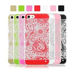 Angibabe Flower Vine Pattern Ultra Thin Acrylic and TPU Clear Transparent Case for iPhone 5/5S (Assorted Colors) – USD $ 2.99