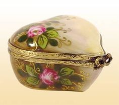 Brown Floral Heart Limoges Box