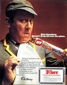 UK - Cadbury - Curly Wurly - 3 off coupon - Terry Scott - magazine ad - 1974 Vintage Advertisements, Vintage Ads, Retro Advertising, Vintage Posters, Cadbury Curly Wurly, Retro Sweet Hampers, Vintage Sweets, Retro Sweets, We Are Young