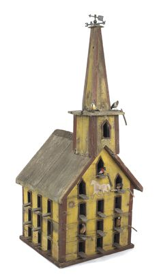 """Victorian painted pine birdhouse, late 19th c., retaining an old red and yellow surface, 56"""" h., 25"""" w., together with six carved and painted birds."""