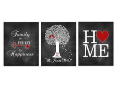 Custom Family Tree, CANVAS or PRINTS, Family is The Key to Happiness, Love Birds Art, Home Sign, Chalkboard Wall Art - HOME245