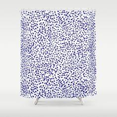 Vonnie - abstract minimal indigo blue dalmatian dots brushstrokes animal print monochromatic print Shower Curtain