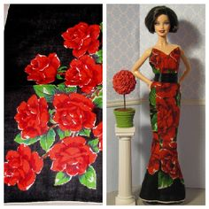 Strapless column gown for Barbie made from vintage hankie