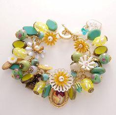 Love the fresh, crisp colors in this charm bracelet.