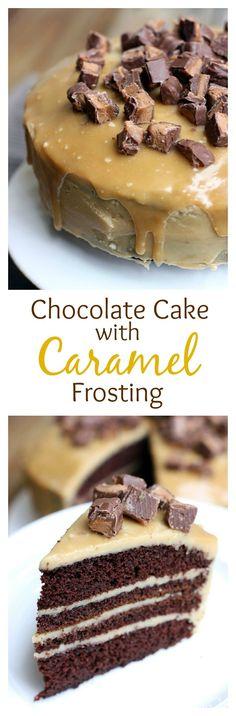 Chocolate Cake with Caramel Frosting recipe from TastesBetterFromScratch.com on LilLuna