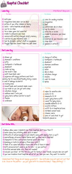 Ever wonder what to take to the hospital?  Here is a simple check list for you, dad, & baby. #HospitalChecklist #LaborBag