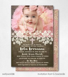 This gorgeous vintage inspired lace baptism invitation is the perfect choice for your upcoming baptismal celebration. With beautiful vintage lace accents and custom fonts, this baptism invitation design is truly spectacular in person! Baptism Themes, Baptism Photos, Baptism Party, Baptism Ideas, Vintage Invitations, Photo Invitations, Custom Invitations, Birthday Invitations, Vintage Baptism
