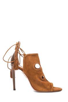 f9b6776ae8ba Aquazzura Get Me Everywhere Suede Heels in Caffe Suede Sandals