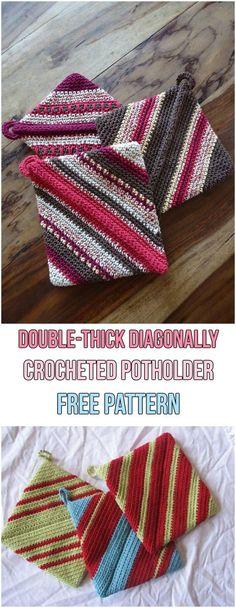 Double-thick Diagonally Crocheted Potholder Free Pattern #crochet #spring #potholder #yarn #hook#freepattern #grannysquar #colorful