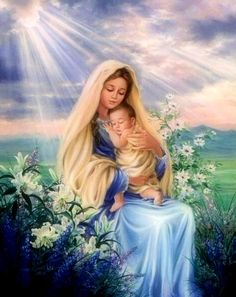 DIY Diamond Painting Mary and Baby Jesus with White Lilies - craft – TurquoiseRoads Blessed Mother Mary, Divine Mother, Blessed Virgin Mary, Happy Mothers, Religious Pictures, Jesus Pictures, Religious Art, Catholic Art, Religious Gifts