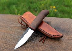Hand forged knife 1084/Black walnut/Briar by NateRunalsBlacksmith, $115.00