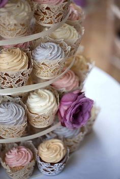 Vintage Ivory Lace Cupcake Tower _ Source: http://www.ebay.com/itm/60-pcs-Girls-Birthday-Pink-Butterfly-Laser-Cut-Cupcake-Wrapper-Baking-Wrap-W009F-/321121694065?pt=LH_DefaultDomain_0&hash=item4ac4583171