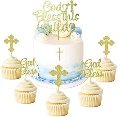 Jevenis 25 Pcs Glittery God Bless This Child Cake Topper Baptism Cupcake Toppers Cross Cupcake Topper Angel Fairy Cake Topper Baptism Party photo ideas from Amazing Party Decoration Ideas Baptism Cupcakes, Baptism Party Decorations, Cross Cakes, First Communion Party, Communion Cakes, Princess Cupcake Toppers, Party Garland, Kids Party Supplies, Cooking Network